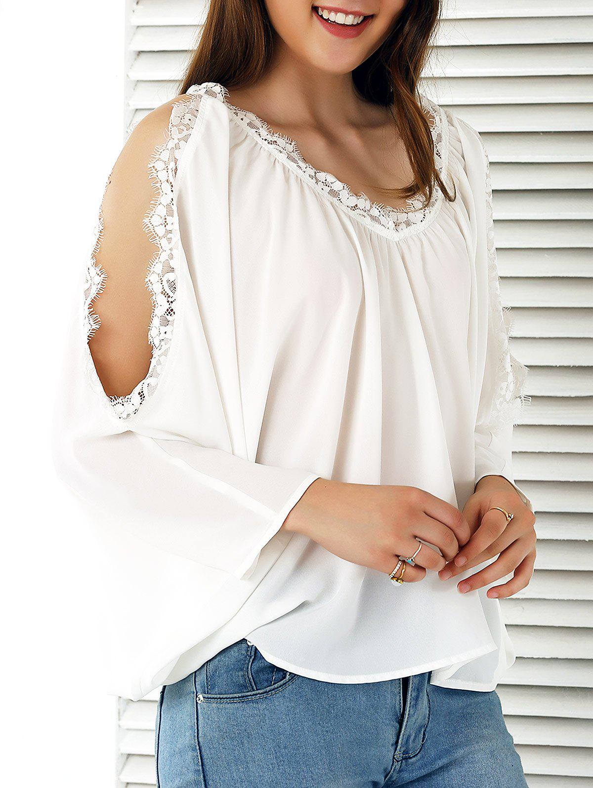 Lace Splicing Cold Shoulder Chiffon Blouse - WHITE XL