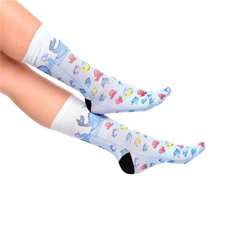 Casual Style Octopus Dolphin Fish Pattern Socks - LIGHT BLUE
