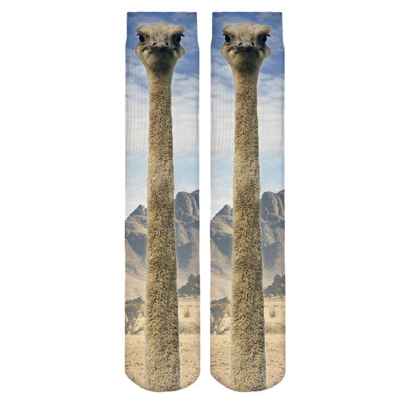 Casual Style 3D Ostrich Pattern Socks - AZURE
