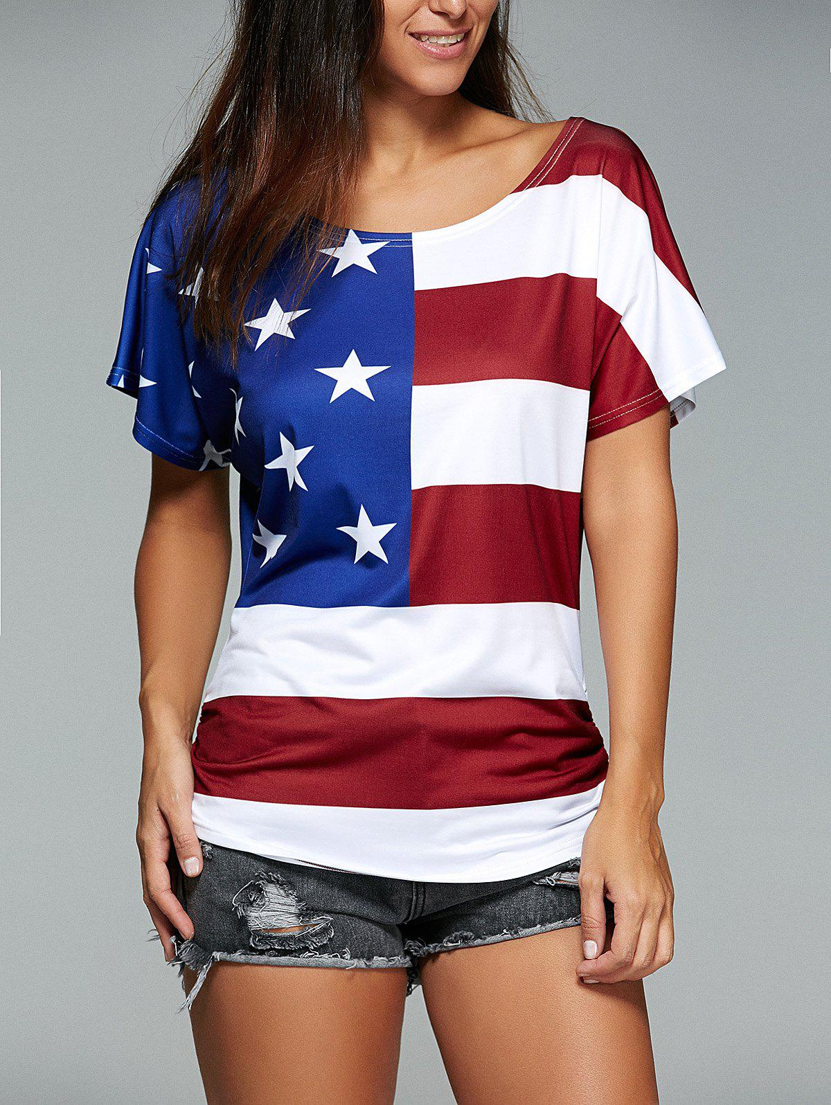 Short Sleeve American Flag Print T-Shirt - DEEP RED XL