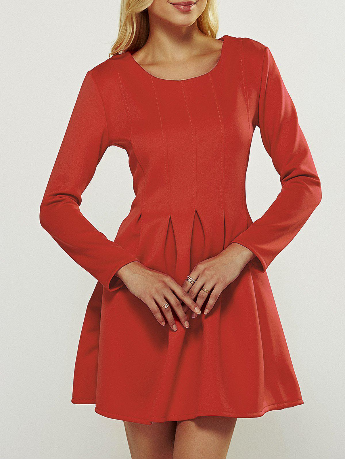Long Sleeve Box Pleated Dress - RED XL