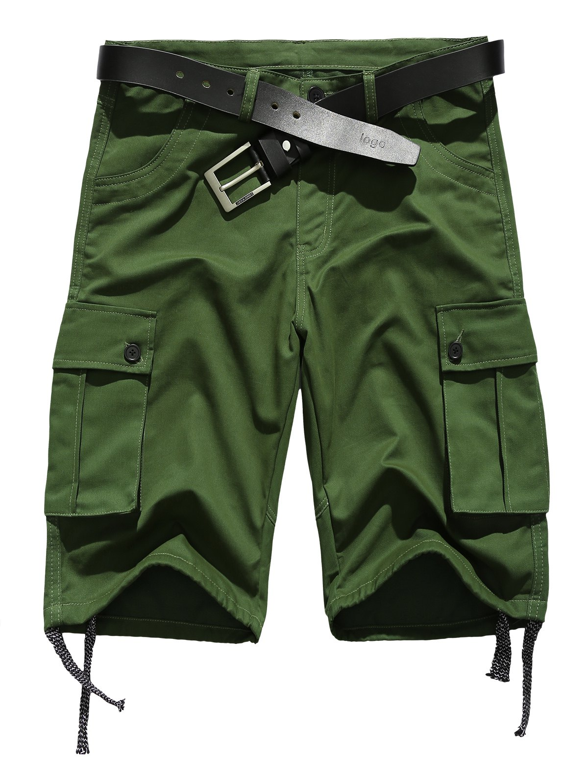 Pockets Embellished Zipper Fly Straight Leg Drawstring Design Shorts - ARMY GREEN M