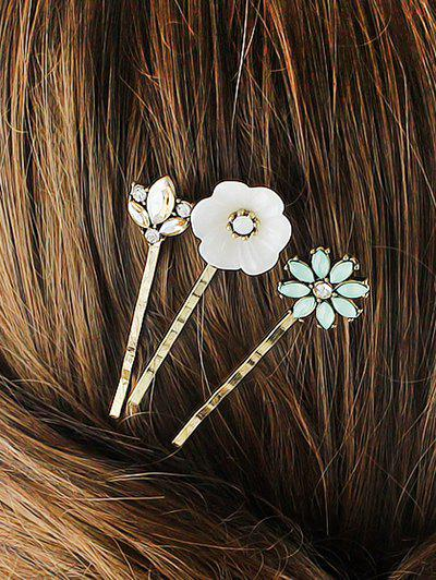 Rhinestone Floral Hairpins Jewelry Set - GOLDEN