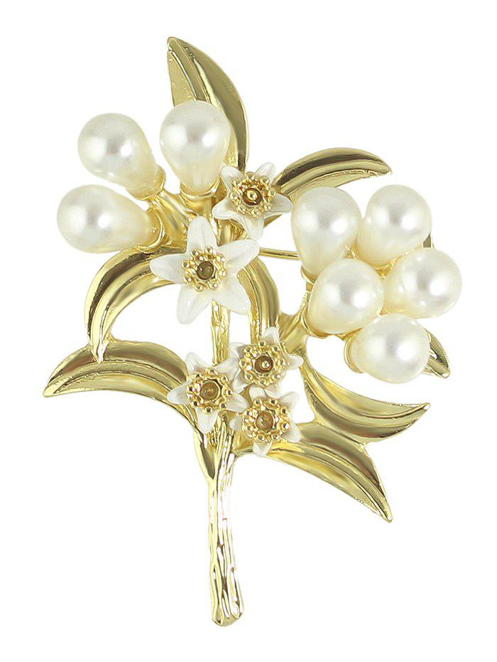 Faux Pearl Alloy Leaf Floral Brooch - GOLDEN
