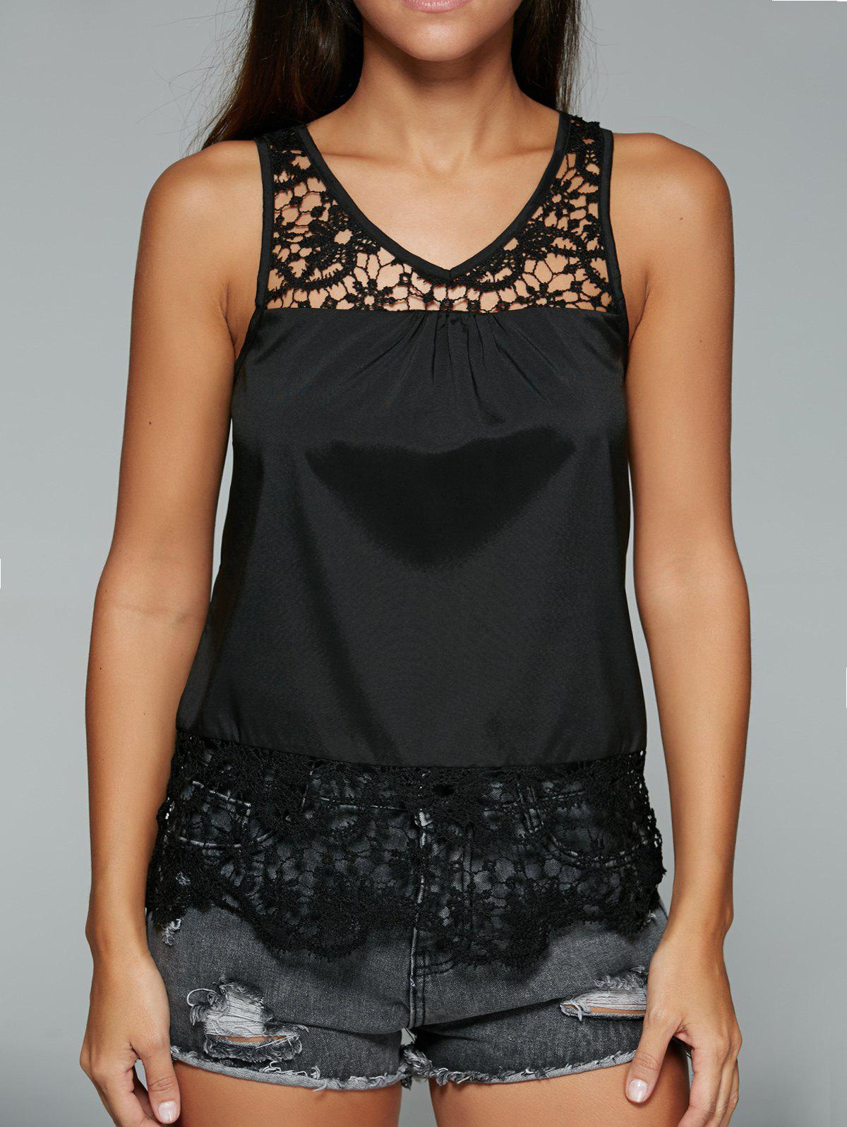 Lace Spliced V Neck Hollow Out Tank Top - BLACK XL