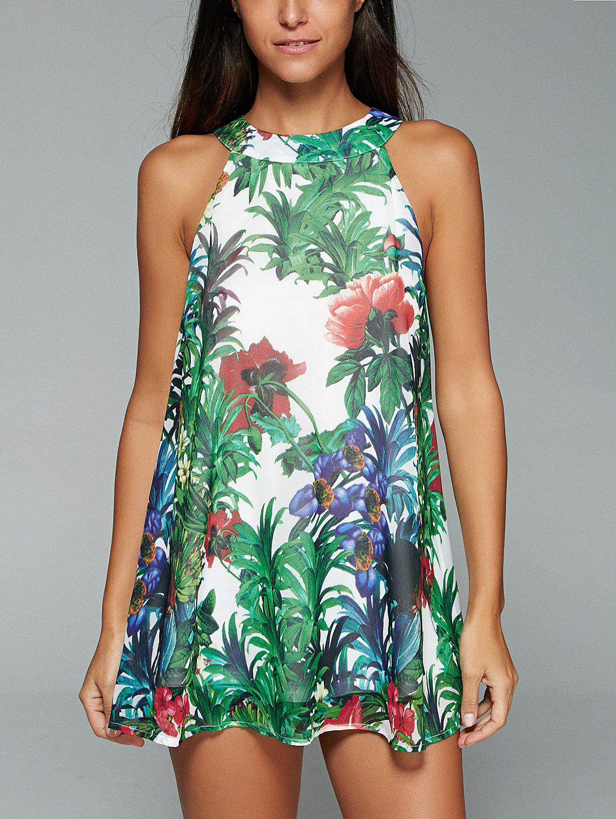 Tropic Print Loose Fitting Tank Top