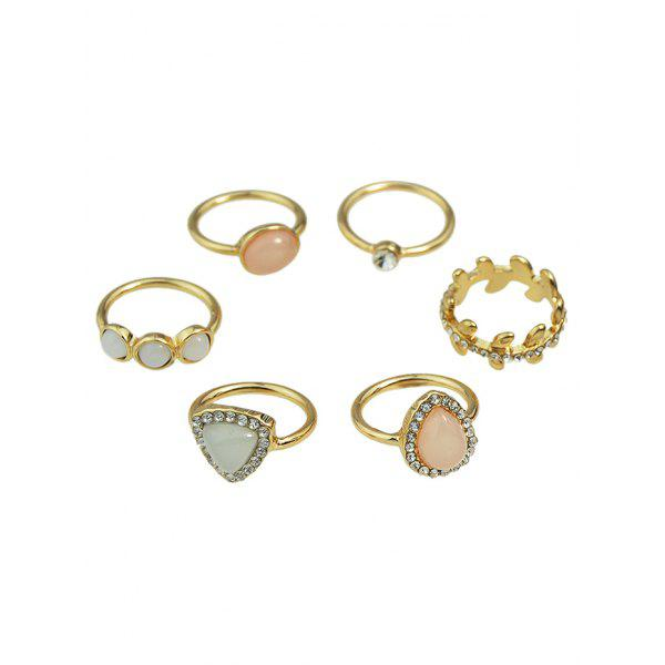 Rhinestone Faux Opal Water Drop Rings