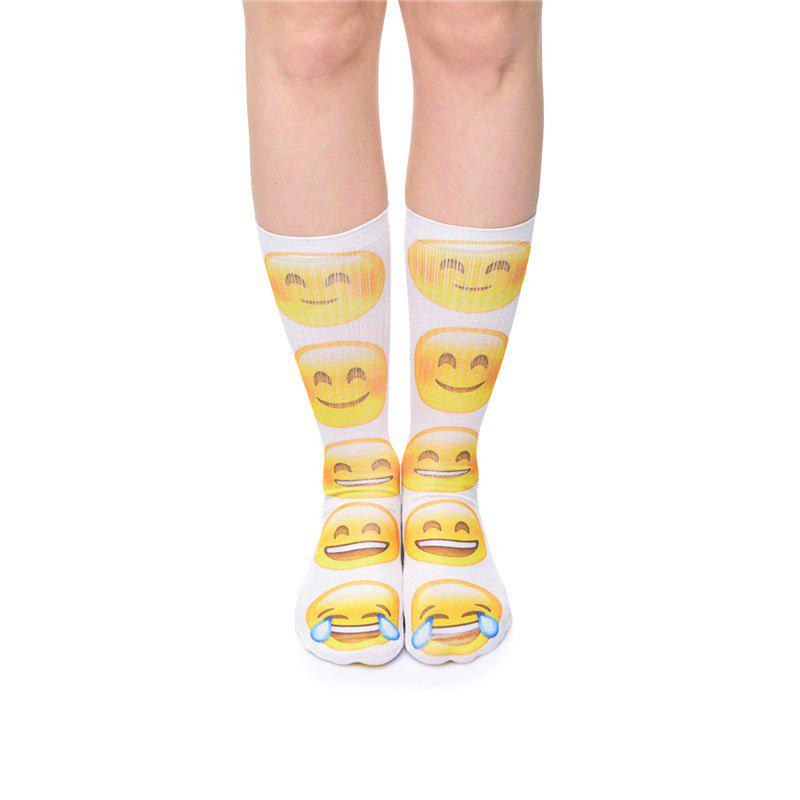 Casual Style Face Expression Pattern Socks - WHITE