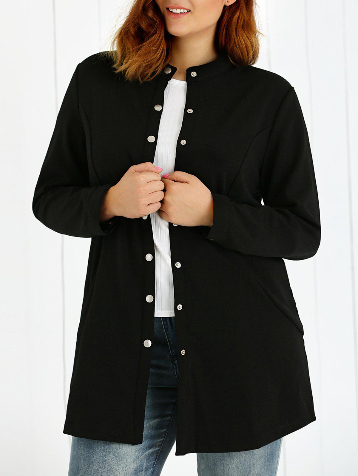 Plus Size Buttoned Coat - BLACK 2XL