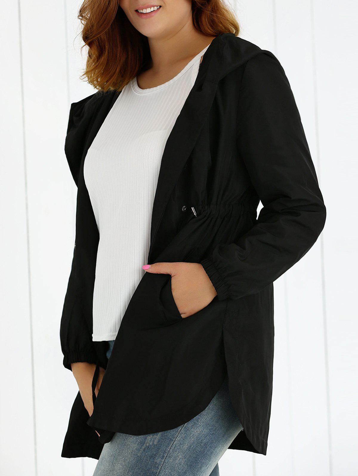Plus Size Hooded Drawstring Utility Coat - BLACK XL