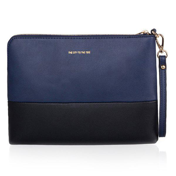 PU Cuir Couleur Splicing Zipper Clutch Bag - Bleu et Noir