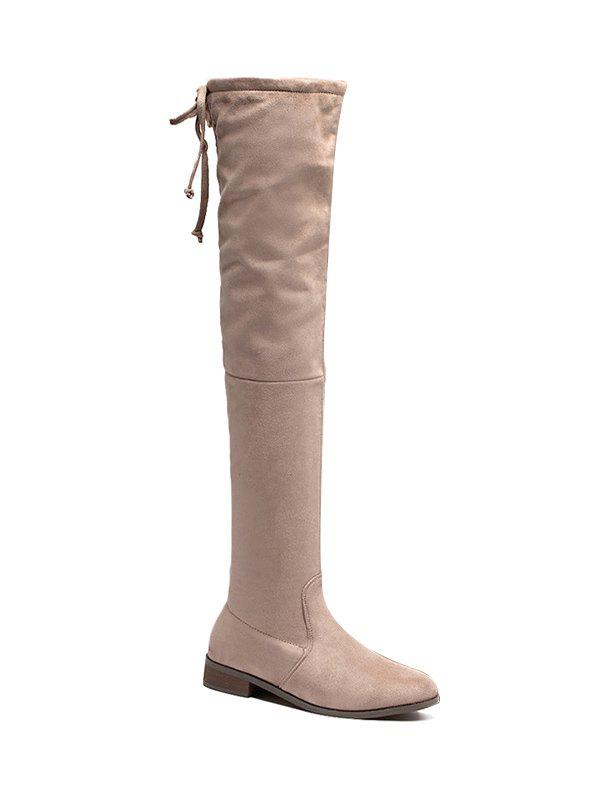 Zip Flat Heel Thing High Boots - APRICOT 39