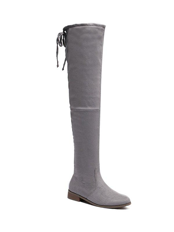 Zip Flat Heel Thing High Boots - GRAY 37