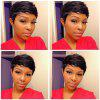 Ultrashort Straight Pixie Cut Real Natural Hair Capless Wig - JET BLACK