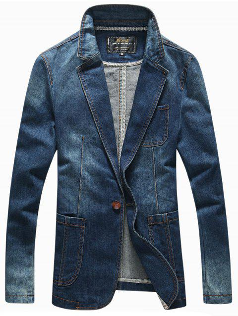 Lapel Long Sleeve Patch Pockets Front One-Button Denim Jacket - DEEP BLUE M