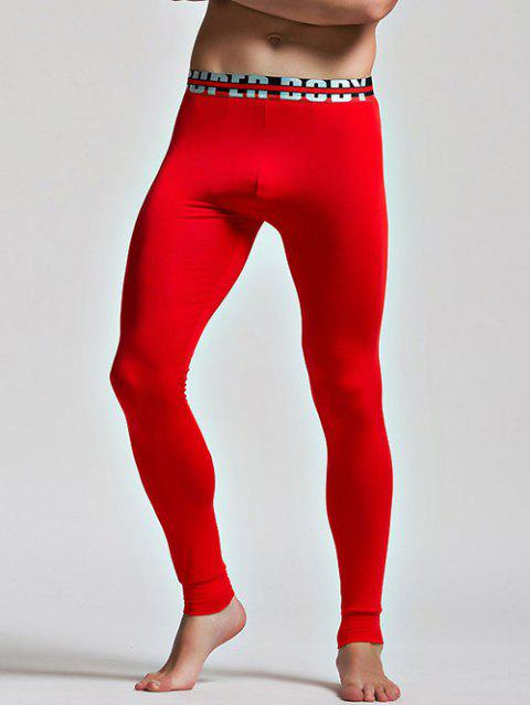 Color Block Letter and Star Print Band Long Johns Pants - RED M