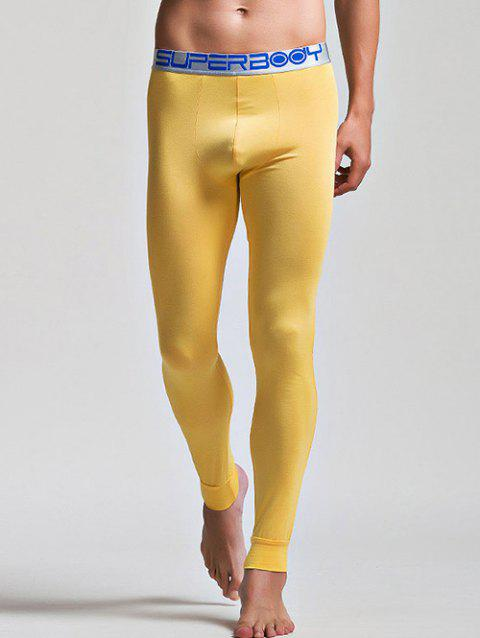 Color Block Letter and Star Print Band Long Johns Pants - YELLOW M