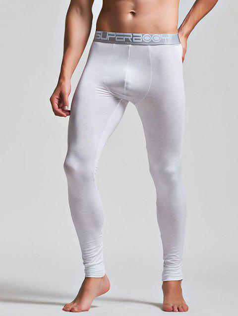 Color Block Letter and Star Print Band Long Johns Pants - WHITE L