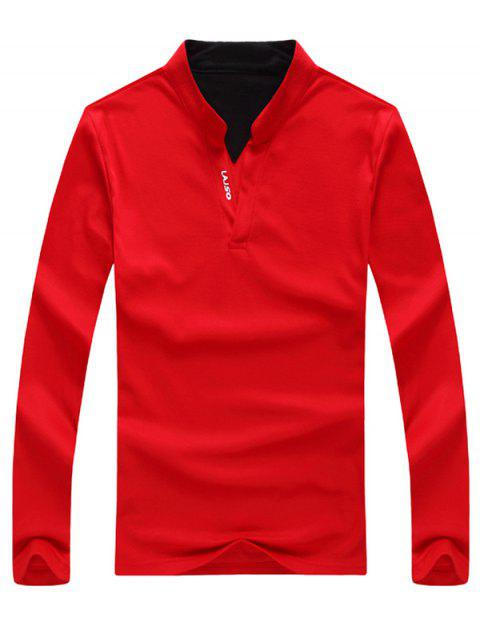 Letter Print Stand Collar Long Sleeve Polo T-Shirt - RED M