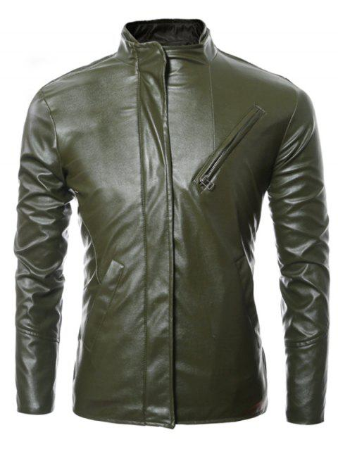 Long Sleeves Side Zip Up Faux Leather Jacket - ARMY GREEN 3XL