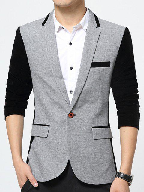 Flap Pockets Color Splicing Lapel Long Sleeve Blazer - GRAY M