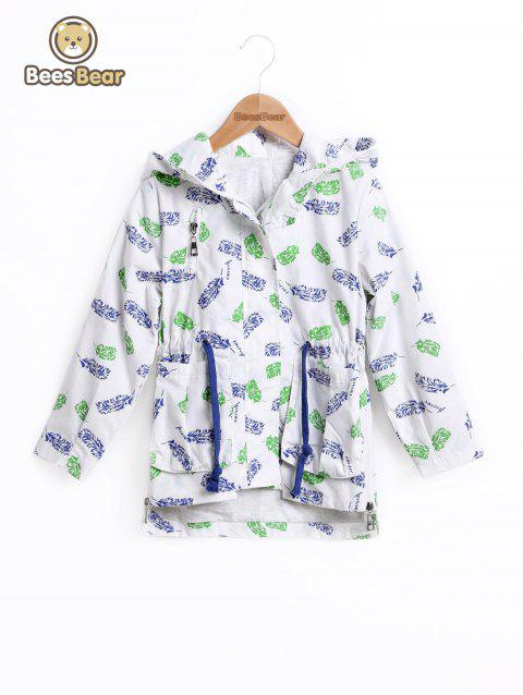 Drawstring Haute Feuille Low Print Hooded Jacket - Blanc CHILD-12