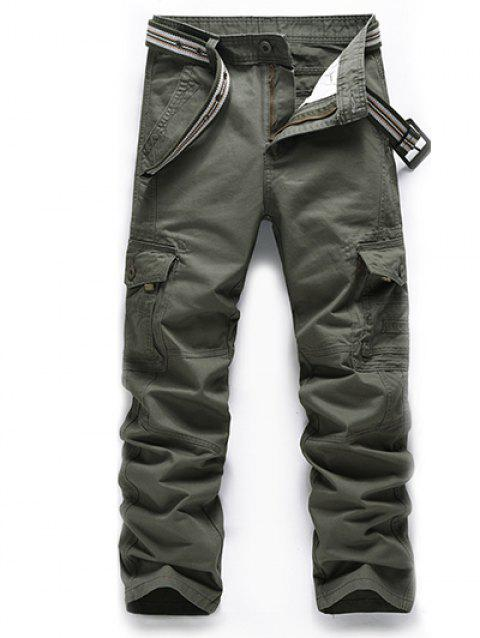 Plus Size Zipper Fly Slimming Straight Leg Pockets Pants - ARMY GREEN 38