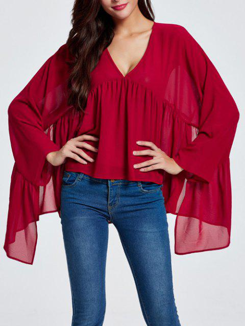 Asymmetric Ruched Smock Blouse - WINE RED 2XL