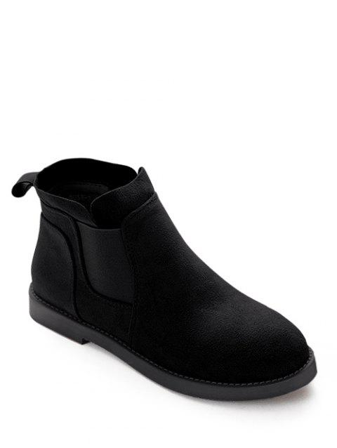 Elastic Band Suede talon plat Bottines - Noir 38