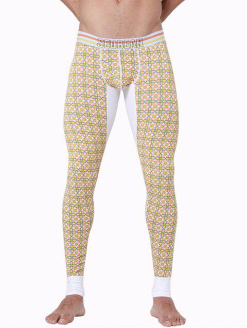 U Convex Pouch Spliced Geometric Printed Long Johns Pants - YELLOW M