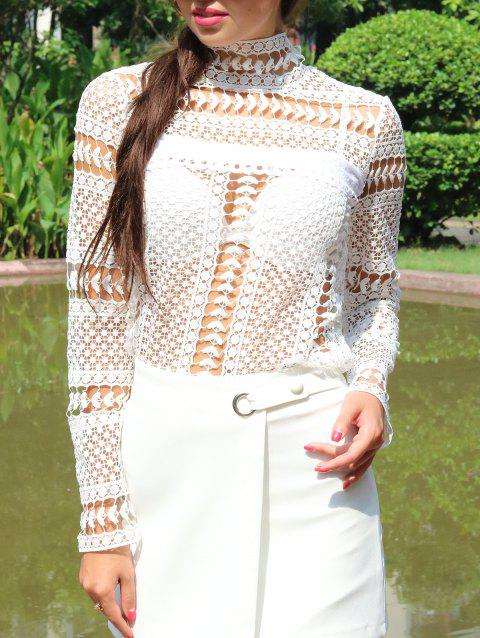 Lace Crochet Embroidery Blouse - WHITE L