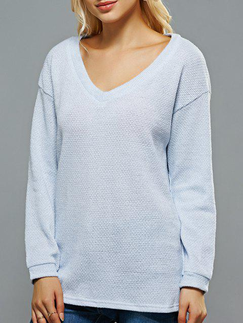V Neck Loose-Fitting Sweater - LIGHT BLUE ONE SIZE