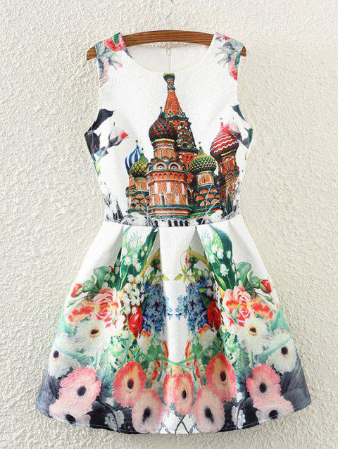Retro Castle Floral Print Sleeveless Fit and Flare Dress - WHITE XL
