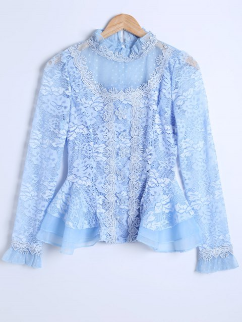 Guipure See-Through Lace Spliced Blouse - AZURE XL