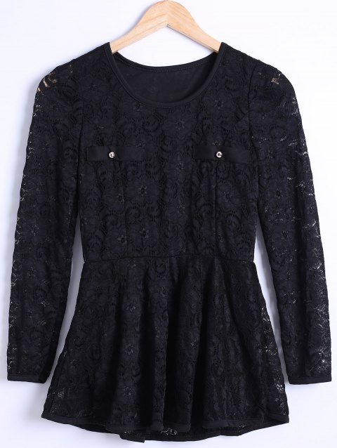 Waisted Guipure Openwork Lace Blouse - BLACK M