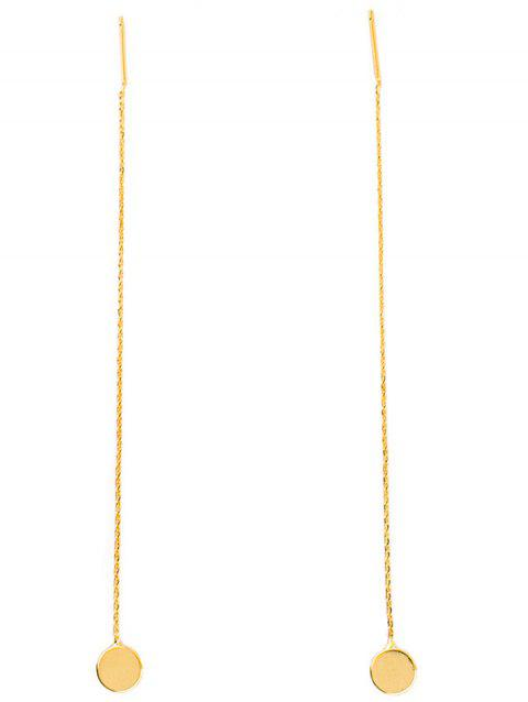 Pair of Disc Pendant Long Chain Ear Threads - GOLDEN