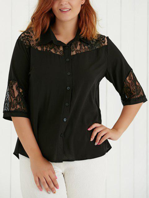 Plus Size Lace Spliced Hollow Out Blouse - BLACK 2XL