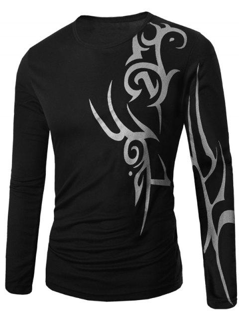 Long Sleeve Round Neck Abstract Pattern T-Shirt - BLACK M