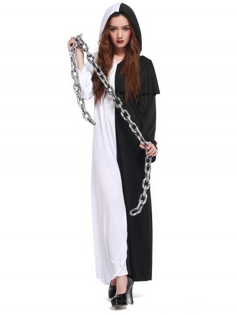 Hooded Color Block Maxi Hallowmas Dress - WHITE/BLACK ONE SIZE(FIT SIZE XS TO M)