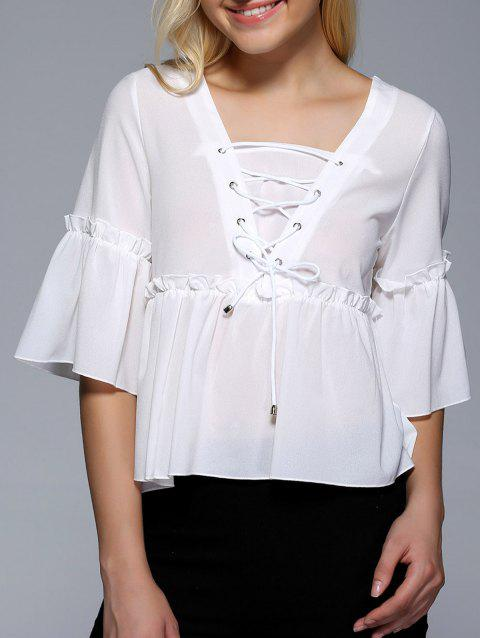Flare Sleeve Flounce Ruffles Lace-Up Blouse - WHITE ONE SIZE