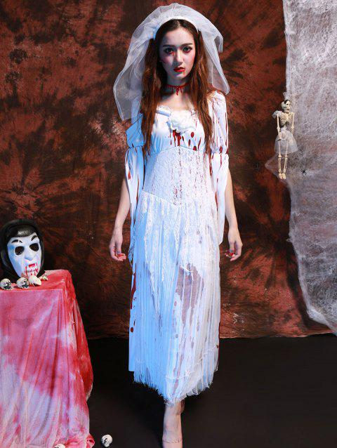 Blood Print Lace Splicing Hallowmas Cosplay Costume - WHITE ONE SIZE(FIT SIZE XS TO M)
