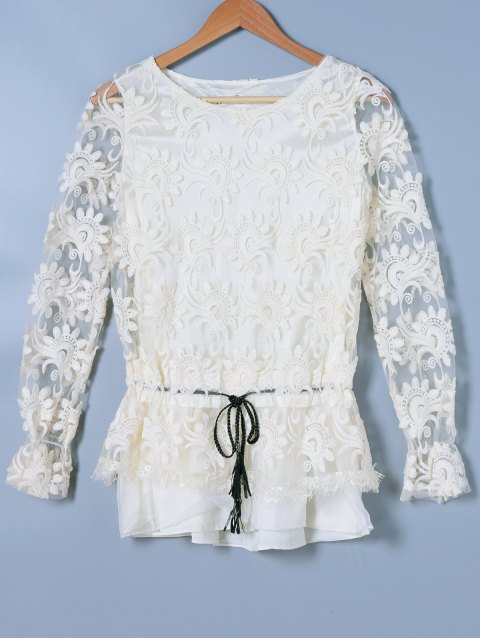 Long Sleeve Embroidery See-Through Blouse - OFF WHITE ONE SIZE