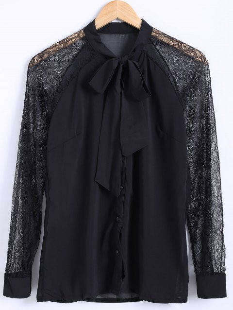 Bow Collar Lace Sleeve Chiffon Blouse - BLACK ONE SIZE(FIT SIZE XS TO M)