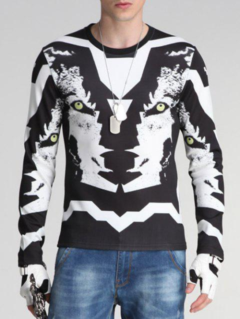 Round Neck Long Sleeve 3D Wolf Print Sweatshirt - BLACK XL