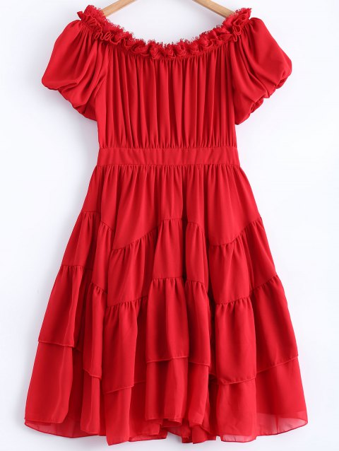Off The Shoulder Puff Sleeve Layered Dress - RED XL