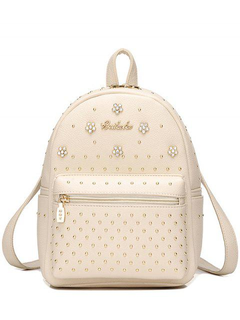 PU Leather Flowers Rivets Backpack - OFF WHITE