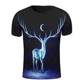 3D Starry Sky and Elk Print Round Neck Short Sleeve Stylish Men's T-Shirt