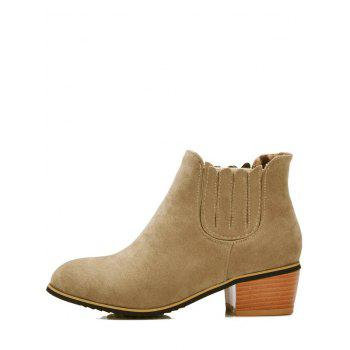 Concise Chunky Heel and Elastic Band Design Women's Ankle Boots - CAMEL 39