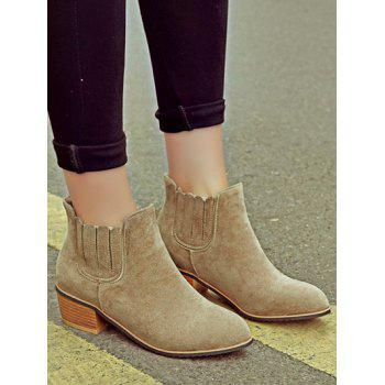 Concise Chunky Heel and Elastic Band Design Women's Ankle Boots - CAMEL 37