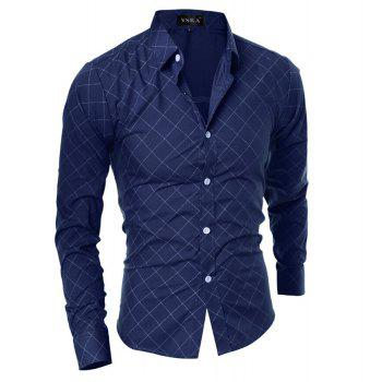Grid Long Sleeve Men's Button Up Shirt